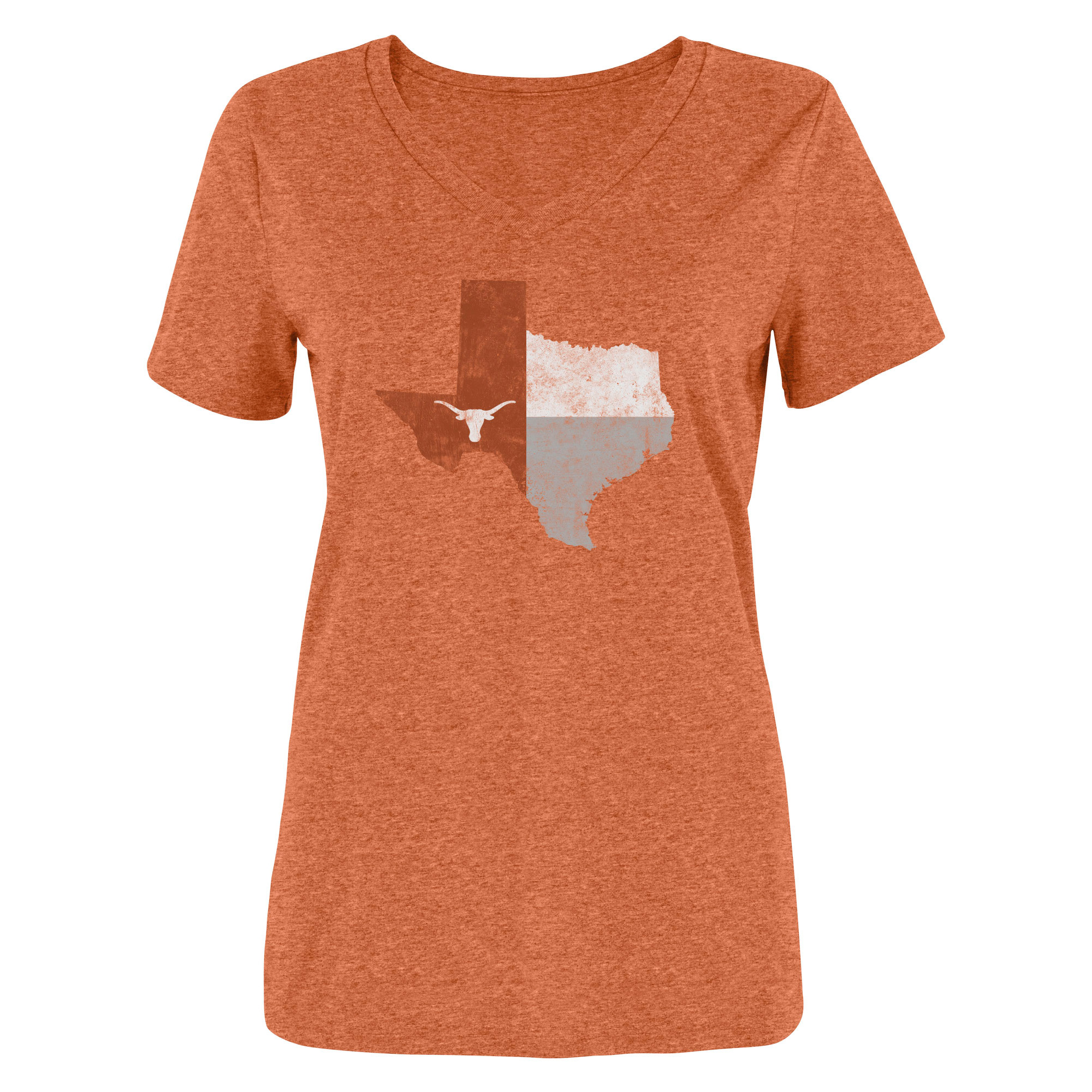 Women's Heathered Texas Orange Texas Longhorns State V-Neck T-Shirt