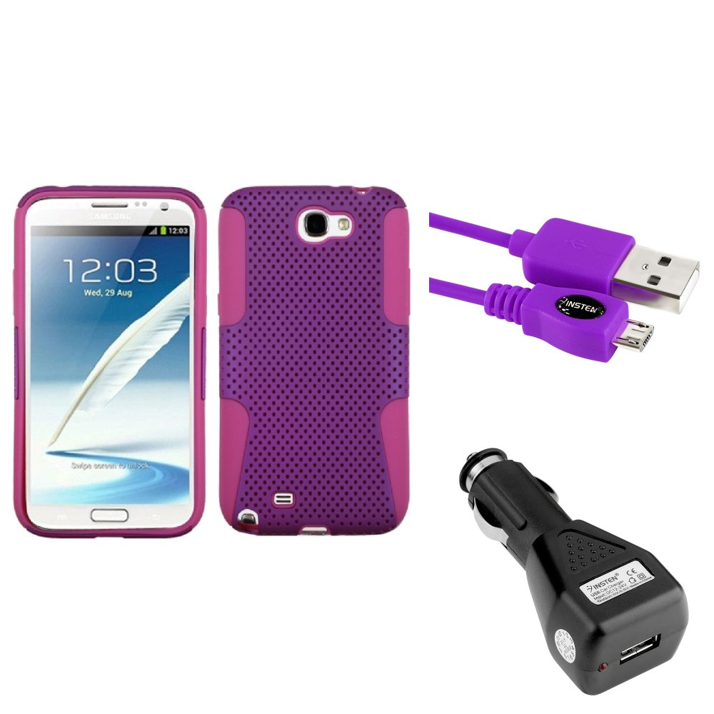 Insten Hot Pink/Purple Hybrid Case Car Charger Cable For Samsung Galaxy Note 2 II