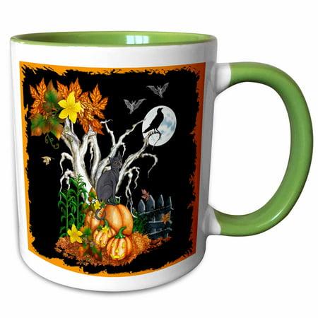 3dRose Halloween night with a black cat, creepy tree, full moon, bats and jack o lanterns - Two Tone Green Mug, 11-ounce