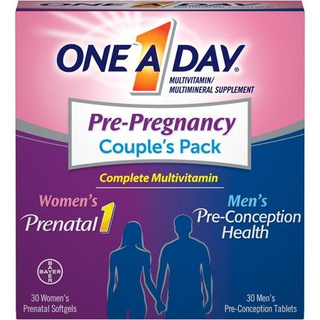 One A Day Men's & Women's Pre-Pregnancy Multivitamin, Supplement for Before, During, and Post Pregnancy, Including Vitamins A, C, D, E, B6, B12, Folic Acid, and Omega-3 DHA, 30+30 Count
