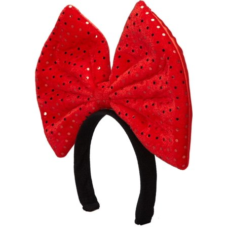 Wenchoice Girl's Red Glitter Giant Bow Headband One Size (Glitter Head Bows)