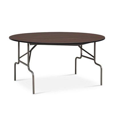 Valuemax Round Folding Table 60 Quot Diameter Dark Walnut Laminate Brushed Nickel Frame Walmart