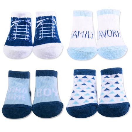 Baby Essentials Baby Gift Box Handsome Boy Family Favorite Shoe Shocks 4 Pairs - Best Baby Socks - Favorite Unique Newborn Cute Baby Shower Gift