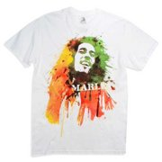 Bob Marley Men's Watercolor Portrait Short Sleeve T-Shirt White ZRBM1057