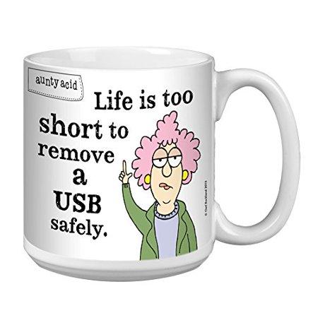 Tree-Free Greetings Extra Large 20-Oz Ceramic Coffee Mug, Aunty Acid USB -