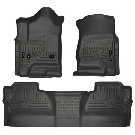 Husky Liners Front & 2nd Seat Floor Liners Fits 14-18 Silverado/Sierra Crew Cab Cab Black Front Floor Liners