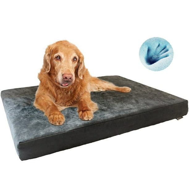 Extra Large Orthopedic Waterproof Memory Foam Dog Bed For Medium To Large Pet 47 X29 X4 Microsuede Gray Washable Cover Walmart Com Walmart Com