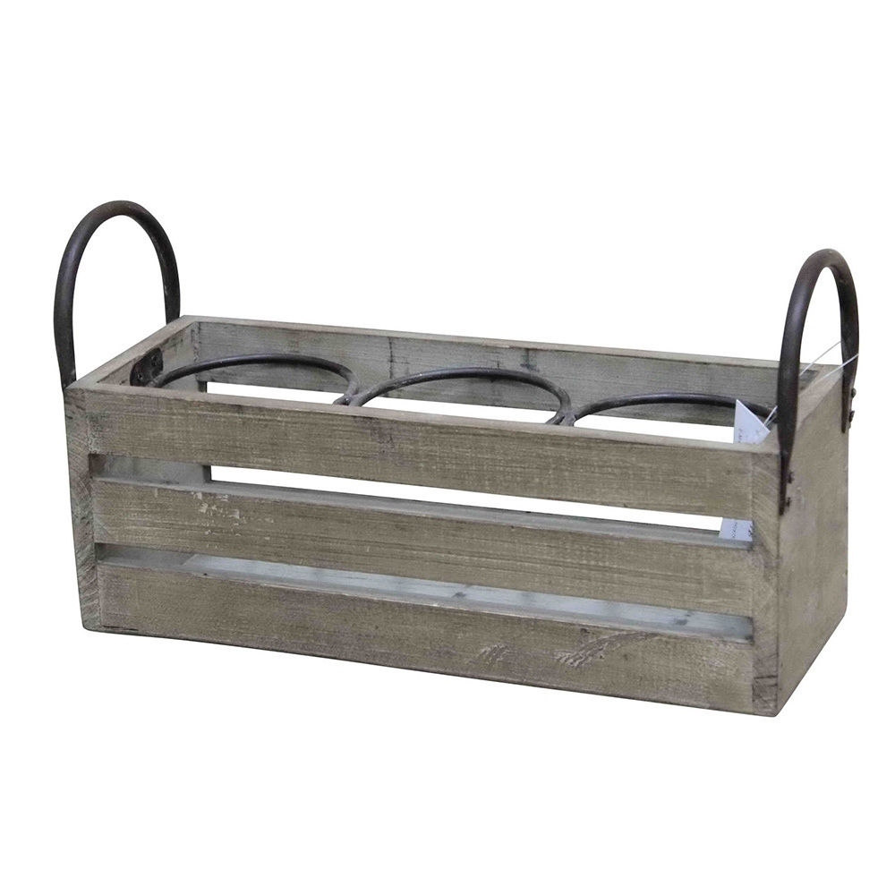 Wald Imports  3-ring Compartments Planter/ Wine Box