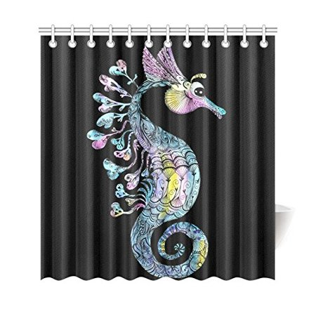 WOPOP Creative Watercolor Seahorse Shower Curtain Black Sea Creature Polyester Fabric Bathroom Sets With Hooks 66x72 Inches