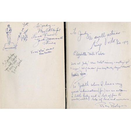 - Front Free Endpapers of 'The Wizard of Oz' by Frank L. Baum, Inscribed to Judy Garland by Cast… Print Wall Art