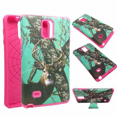 For Samsung Galaxy Note 4 N9100 Hybrid Drop Protective Shock Proof Shock Absorb Enhanced Bumper Dual Layer Designer Case Shield Box Aqua Deer Camo Case Cover Kickstand