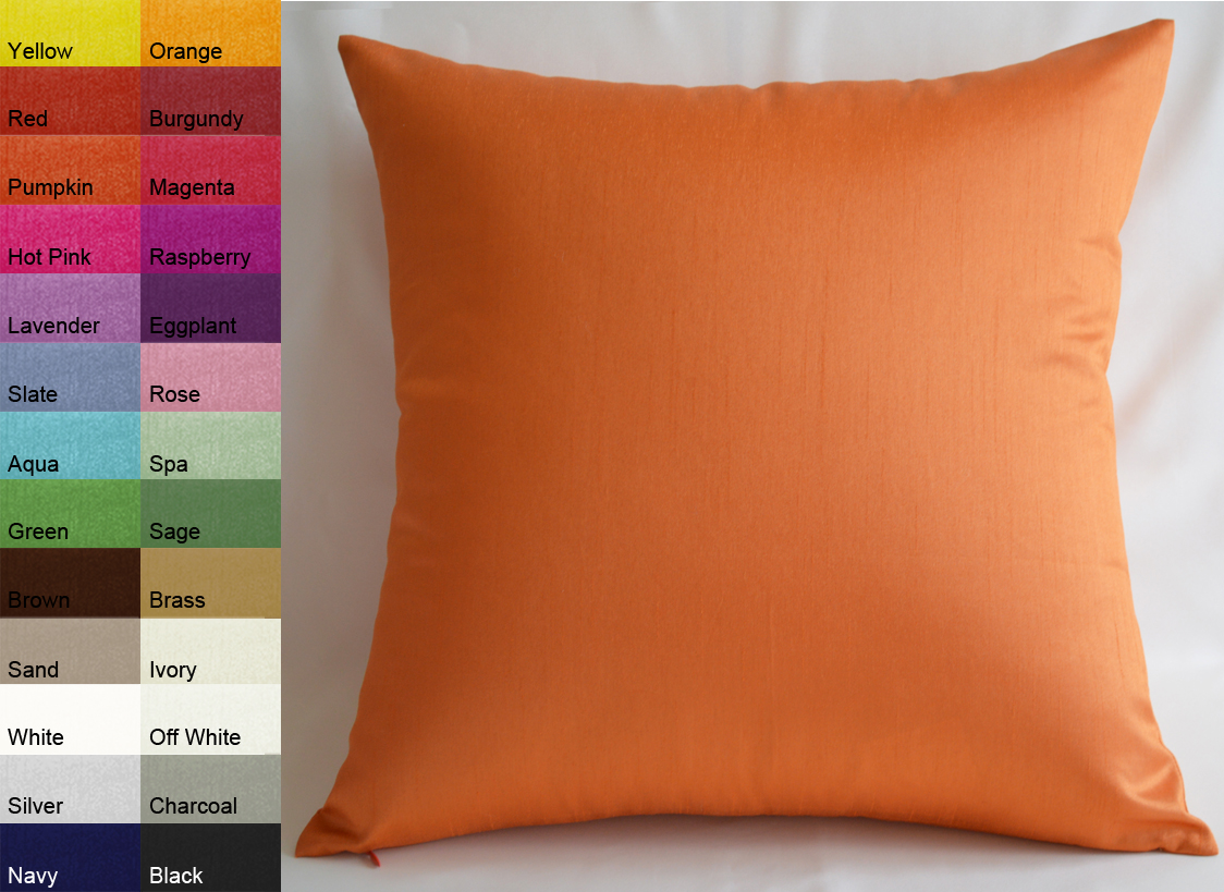Aiking Home Solid Faux Silk Euro Sham   Pillow Cover 26 by 26 Orange by Aiking Home Collection