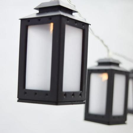MoonBright 10 LED Black Candle Lantern Tea Light String Light, 5.5 FT, Battery Operated by PaperLanternStore (String Lantern Lights)