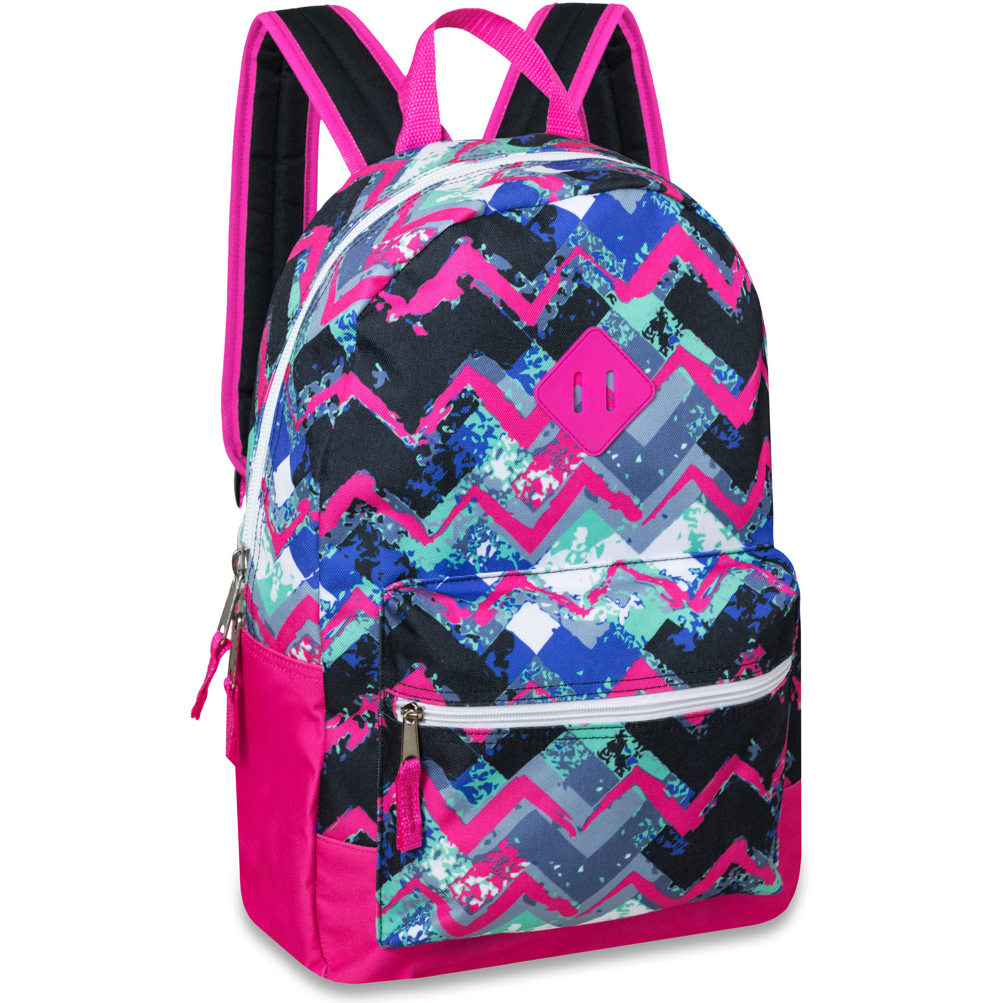 17 Inch Chevron Printed Backpack with Front Accessory Pocket