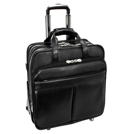 McKlein ROOSEVELT, Patented Detachable -Wheeled Laptop Briefcase, Top Grain Cowhide Leather, Black (84555)