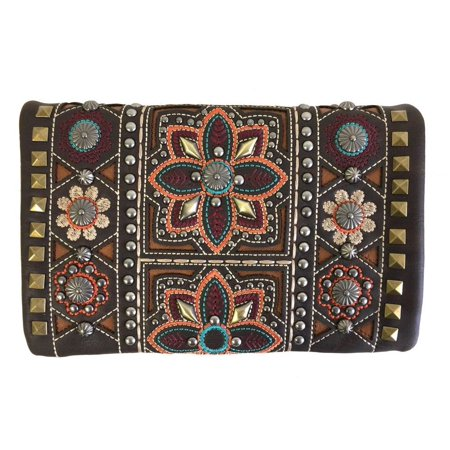 Montana West 4-Way Clutch Wristlet Crossbody Purse Bling Colorful Flowers Coffee
