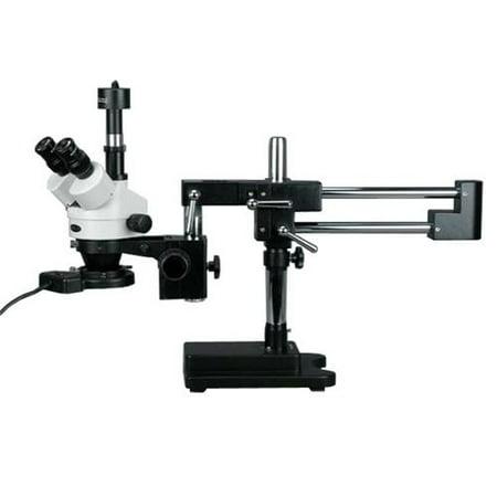 AmScope 3.5X-90X Trinocular Boom Stand Zoom Stereo Microscope with 1.3MP USB Camera