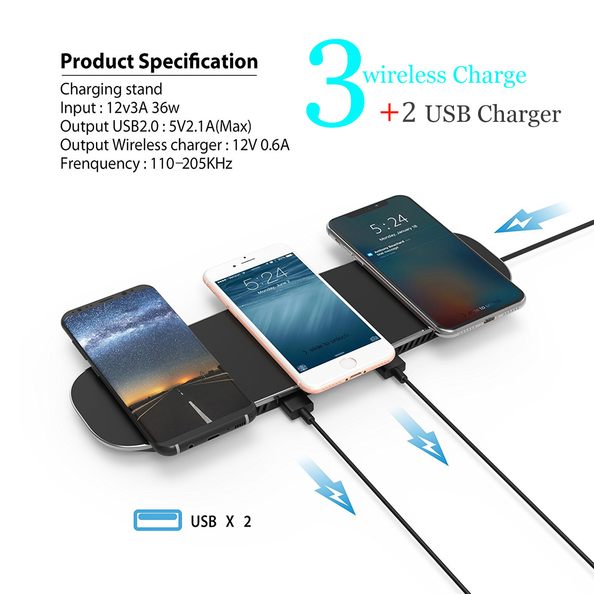 Qi Triple Wireless Charger Station,3 Devices Multi Wireless Charger Pad,Desktop Charging Station qi charger for iPhon e X, iPhon e 8/8Plus, Galaxy S8+ S7/S7 Edge Note 8/5, Nexus 5/6/7