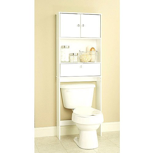 white spacesaver with cabinet and drop door walmartcom - Walmart Bathroom Storage