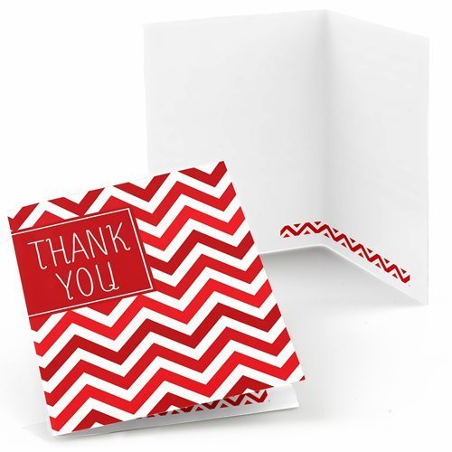 Chevron Red - Baby Shower, Bridal Shower or Birthday Party Thank You Cards (8 count)