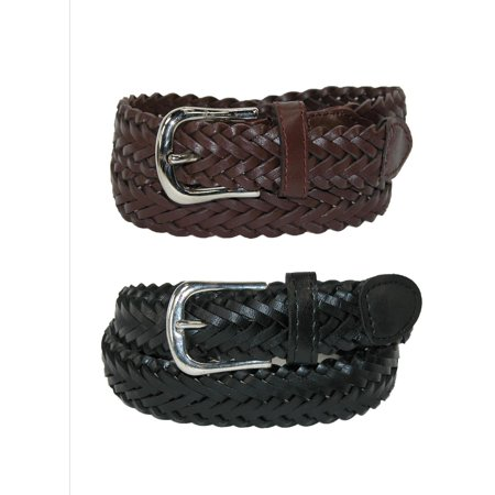 Size Large Boys Leather Adjustable Braided Dress Belt (Pack of 2 Colors), Black and Brown Braided Edge Leather Belt