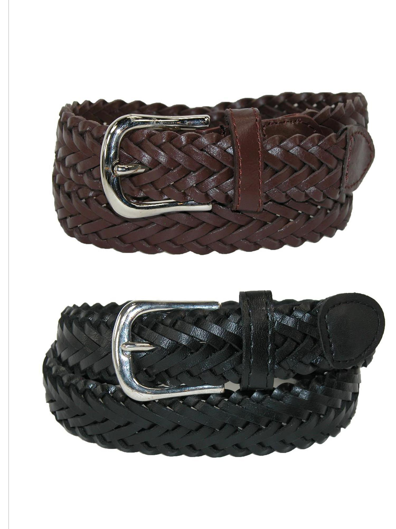 Size Large Boys Leather Adjustable Braided Dress Belt (Pack of 2 Colors), Black and Brown