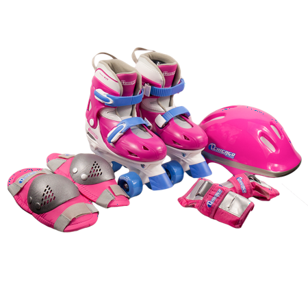 Chicago Girls' Adjustable Quad Roller Skates Combo Set Pink/White/Blue, Size J10-J13 (Skate Wheels Set)