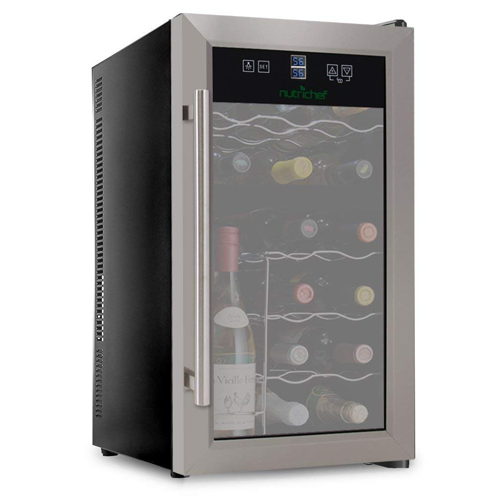 NutriChef PKDSWC18 Dual Zone Thermoelectric Cooler-Red and White Wine Chiller Countertop Cellar-Freestanding Refrigerator-with LCD Digital Touch Controls, 18 Bottle, Stainless Steel