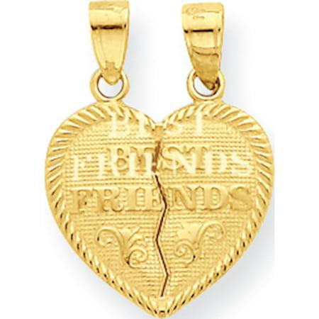 Leslies Fine Jewelry Designer 10k Yellow Gold Best Friends Break-apart Heart (16x20mm) Pendant