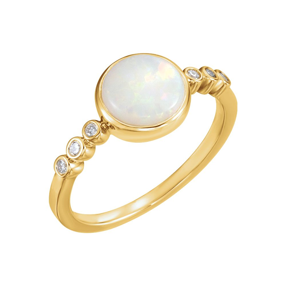 14k Yellow Gold Opal & 1 10 Ct Diamond Cabochon Bezel Set Gemstone Ring by