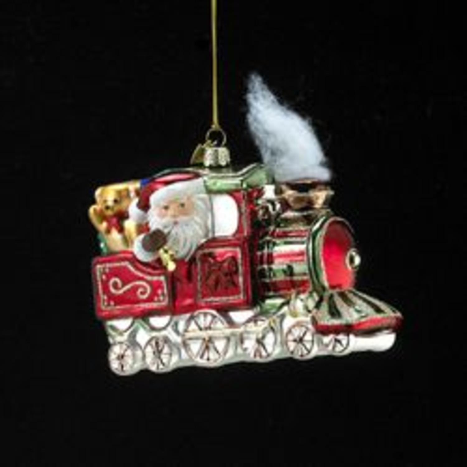 Pack of 8 Noble Gems Santa in Train Engine Glass Christmas Ornaments 5.5""