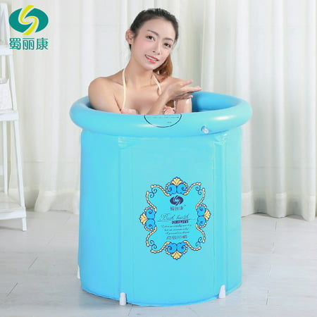 Heavy Duty Adult Size Folding Bathtub, Inflatable Bath tub, Portable Bathtub, Plastic Bathtub ,Spa Bathtub, Massage Bathtub, Folding Bath Bucket, Bath tub (Blue)