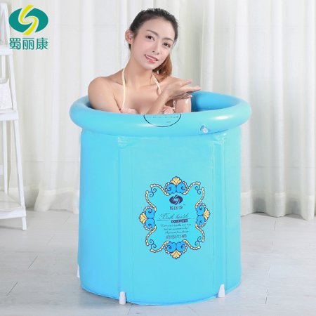 Heavy Duty Adult Size Folding Bathtub, Inflatable Bath tub, Portable Bathtub, Plastic Bathtub ,Spa Bathtub, Massage Bathtub, Folding Bath Bucket, Bath tub (Blue)](Inflatable Bath Adult)