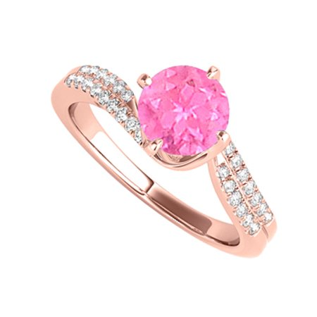 Pink Sapphire CZ Pretty Ring in 14K Rose Gold Vermeil - image 1 de 2