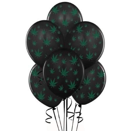 Marijuana Balloons 11 Inch Black With Green Leaves Party Decoration Pkg/50, Party Magic USA Brand Latex Balloons