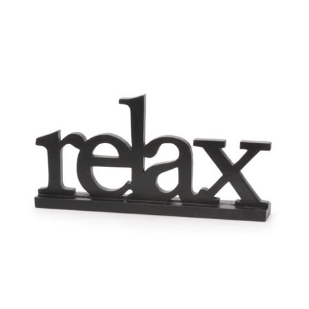 Wooden Table Top Sign - Relax - Black - 13-3/8 x 6-1/2 inches