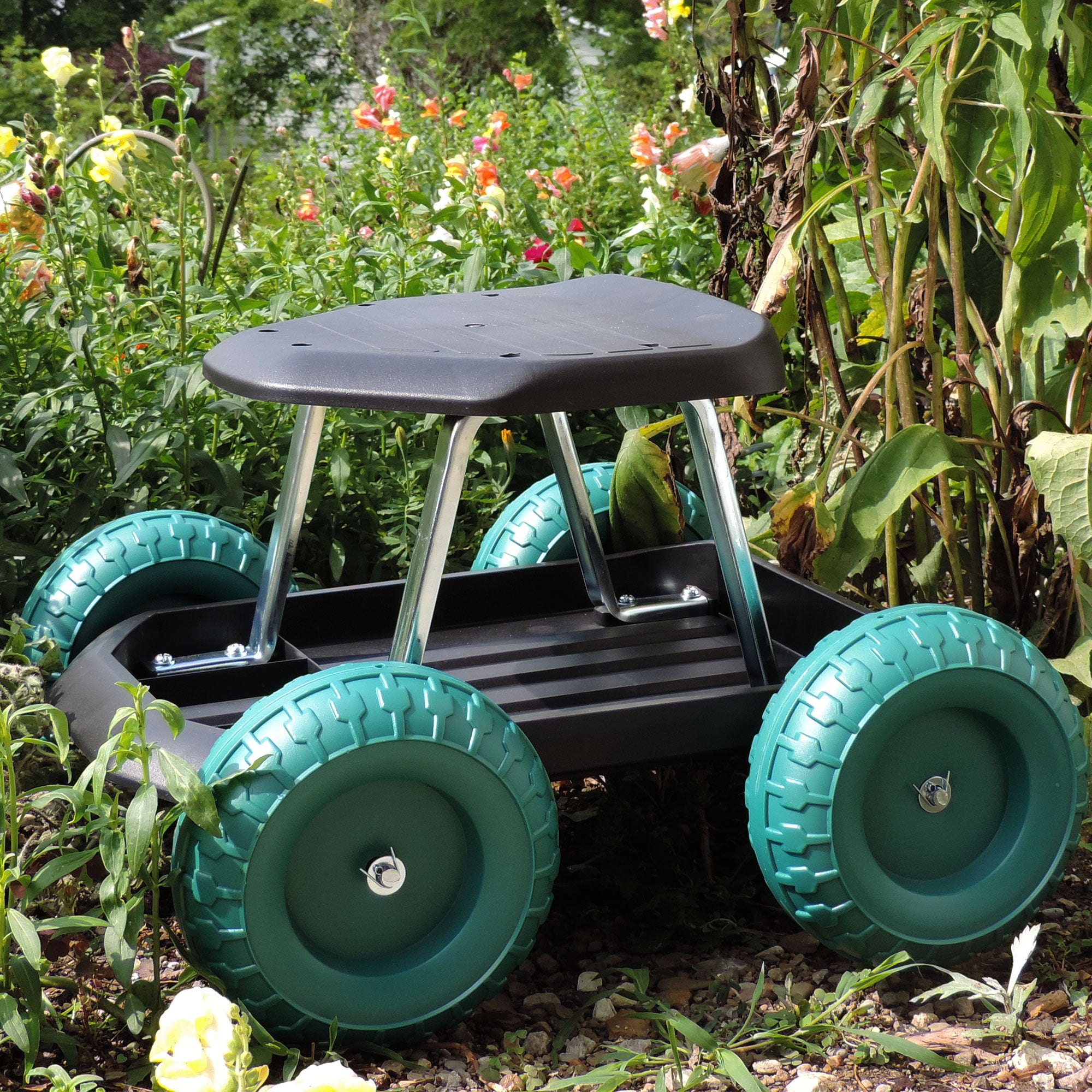 Rolling Garden Work Scooter with Tool Tray by Pure Garden by Trademark Global LLC