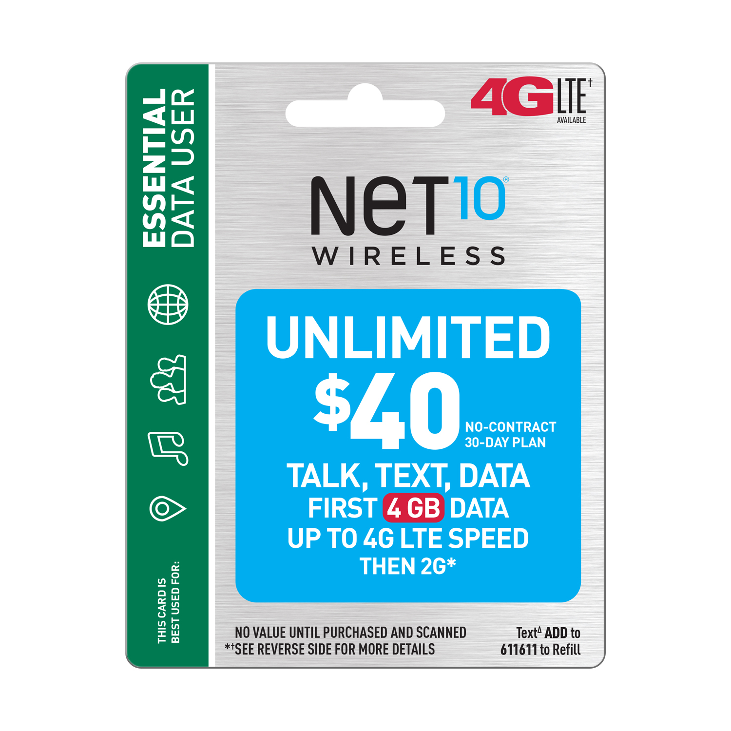 Net10 $40 Unlimited 30 Day Plan (4GB of data at high speed, then 2G*) (Email Delivery) Double Data Promo Available***