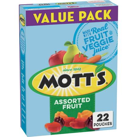 (2 Pack) Mott's Fruit Flavored Snacks Assorted Fruit , 22 ct, 17.6 oz (Healthy Halloween Snacks For School Kids)