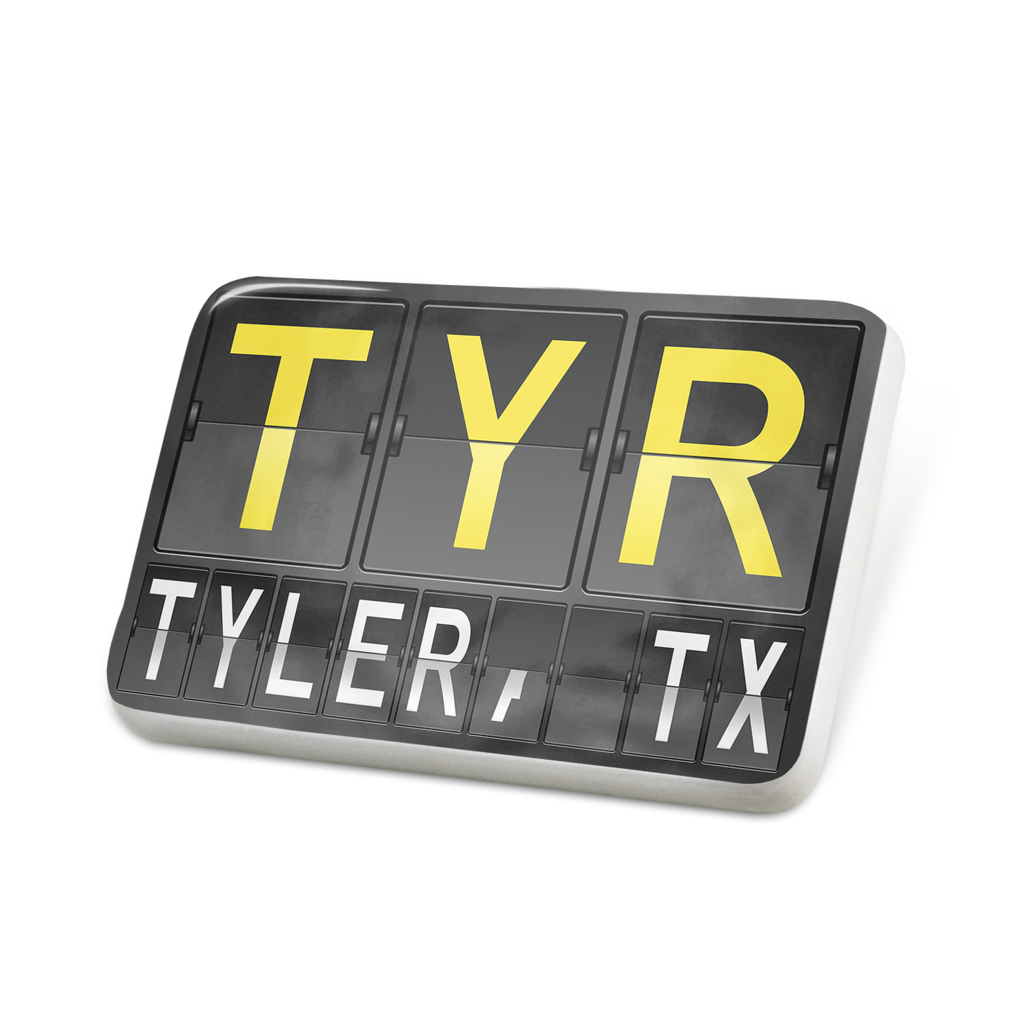 Porcelein Pin TYR Airport Code for Tyler, TX Lapel Badge – NEONBLOND
