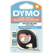 DYMO LT Paper Labels for LetraTag Label Makers, Black Print on White Labels, 1/2-Inch x 23-Foot Roll