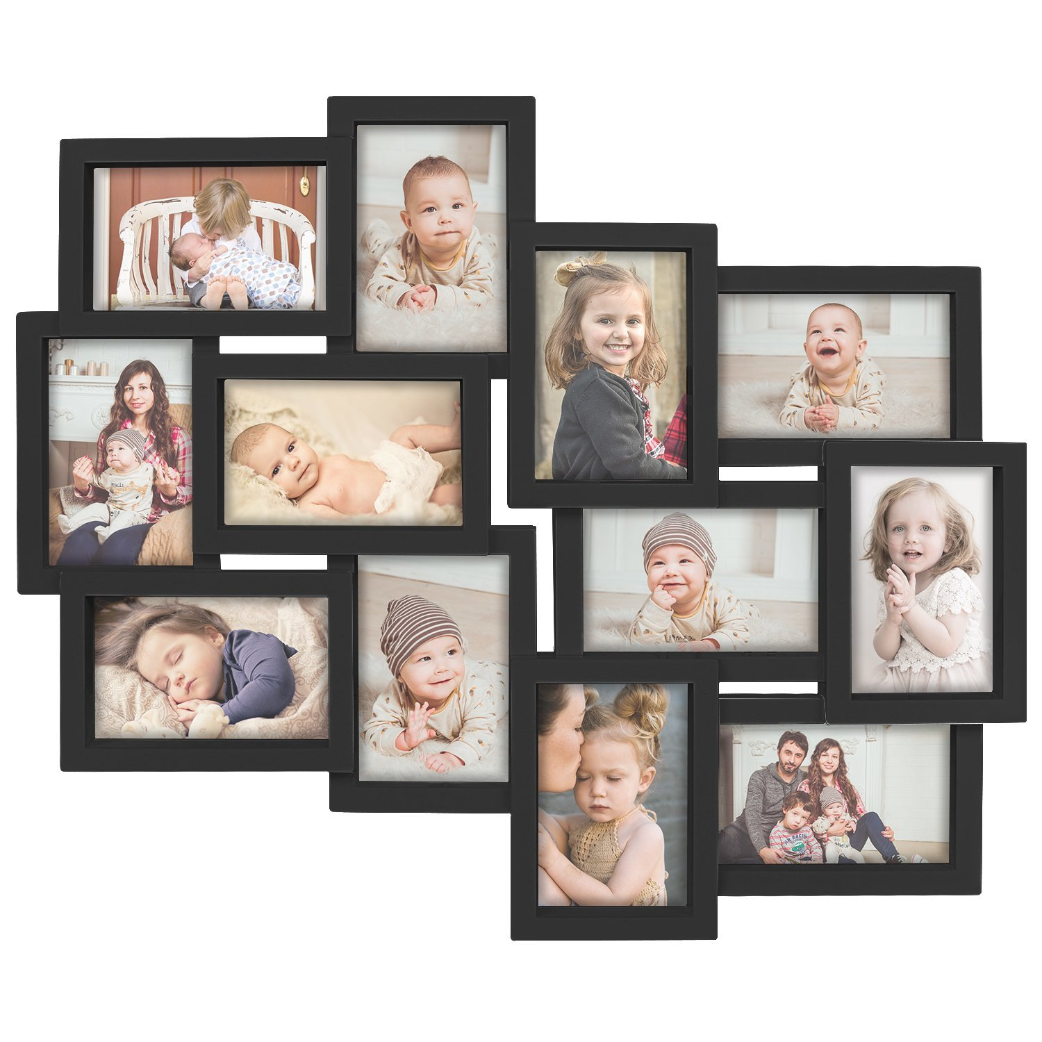 DL furniture Designs Family Rules Dimensional Collage White Picture Frame, 12 Option, 6-4x6 & 6-4x4, Black