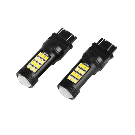 2pcs 21W 3157 7000K White 2800K Amber 2835 Brake Stop Turn Signal Light Bulb