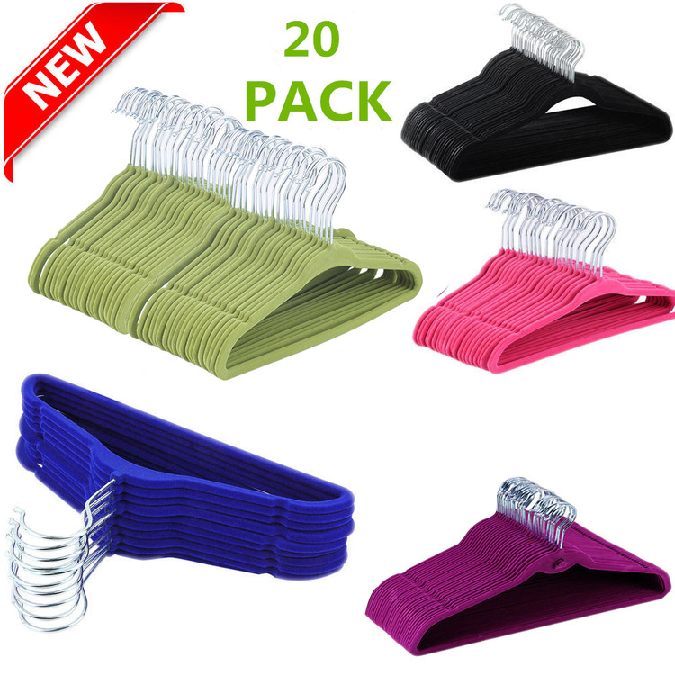20 Pack Velvet Kids Clothes Hangers Velvet Bulk Set for Children Baby Clothing