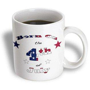 3dRose Born on the 4th of July, Patriotic text art for those whose birthday is July 4., Ceramic Mug, 15-ounce