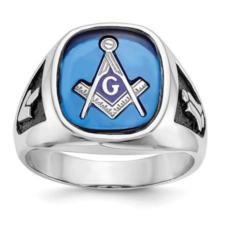 Roy Rose Jewelry 14K White Gold Blue Synthetic Stone Mens Masonic Ring, Size - 10