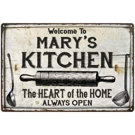 MARY'S Kitchen Farmhouse Sign Gift Personalized 8x12 Metal (Personalized Gift Knees)