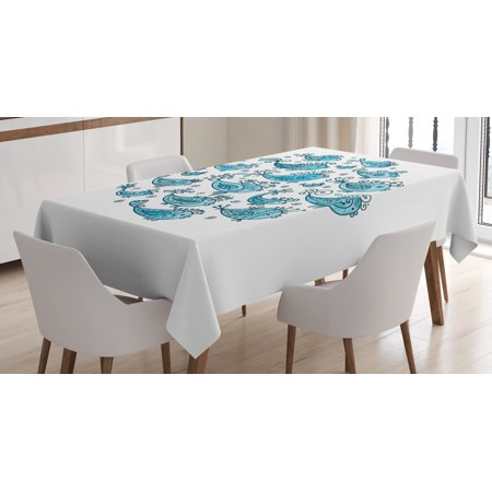 Fish Tablecloth School Of Sketching In Round Frame With Style Fl Pattern