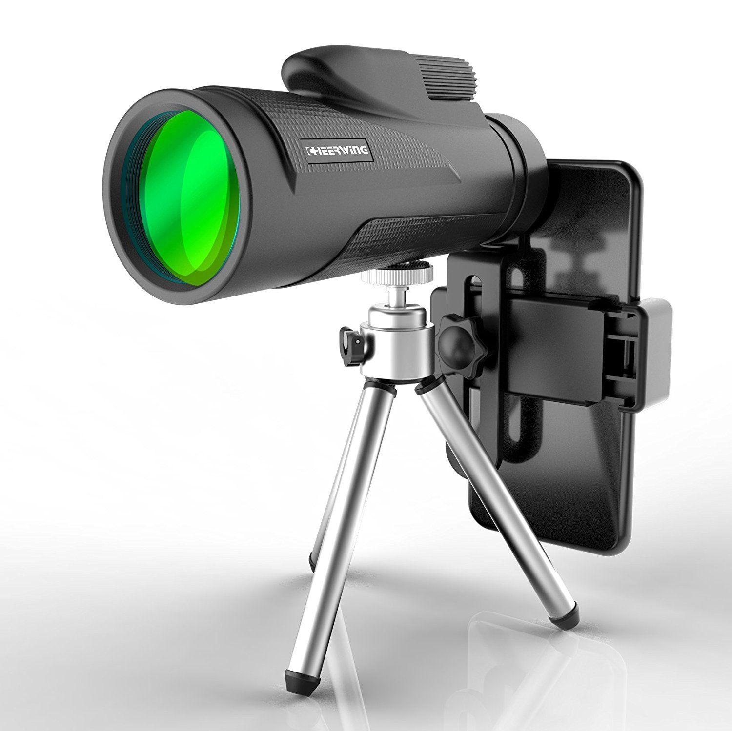 Cheerwing 12X50 High Power BAK-4 Prism Monocular Telescope with Tripods and Smartphone Holder for Sports Hunting Camping Travelling Wildlife Watching and Concert