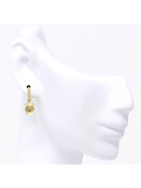 14K Gold Yellow Quartz Fashion Diamond Earrings (2.72 Ct)